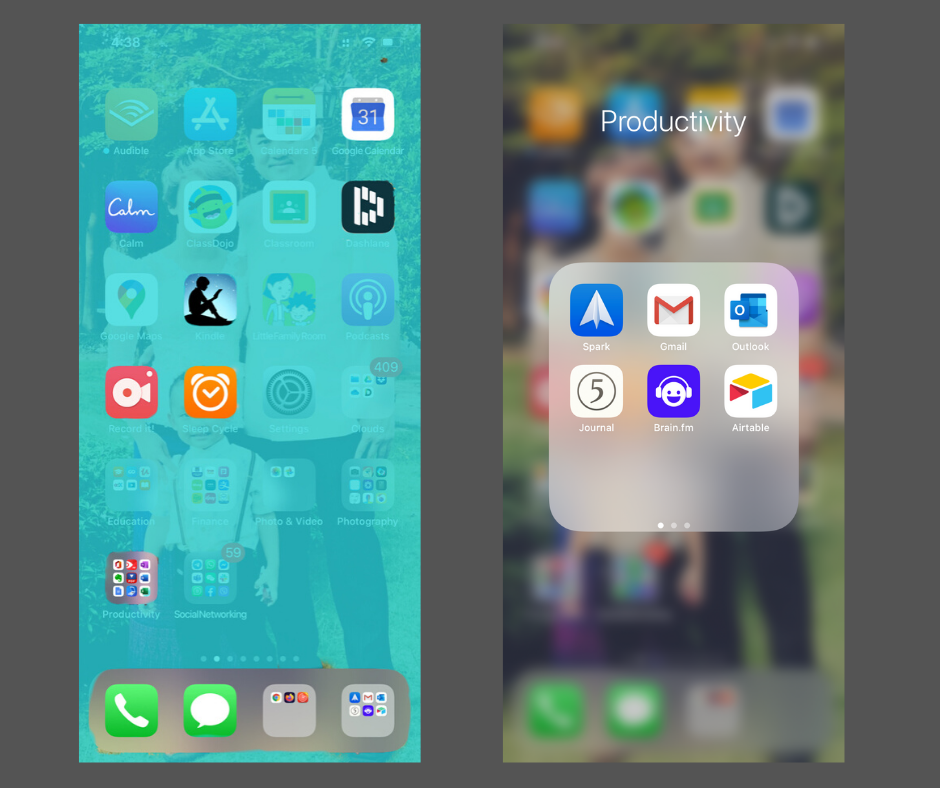 iPhone home screen and dock