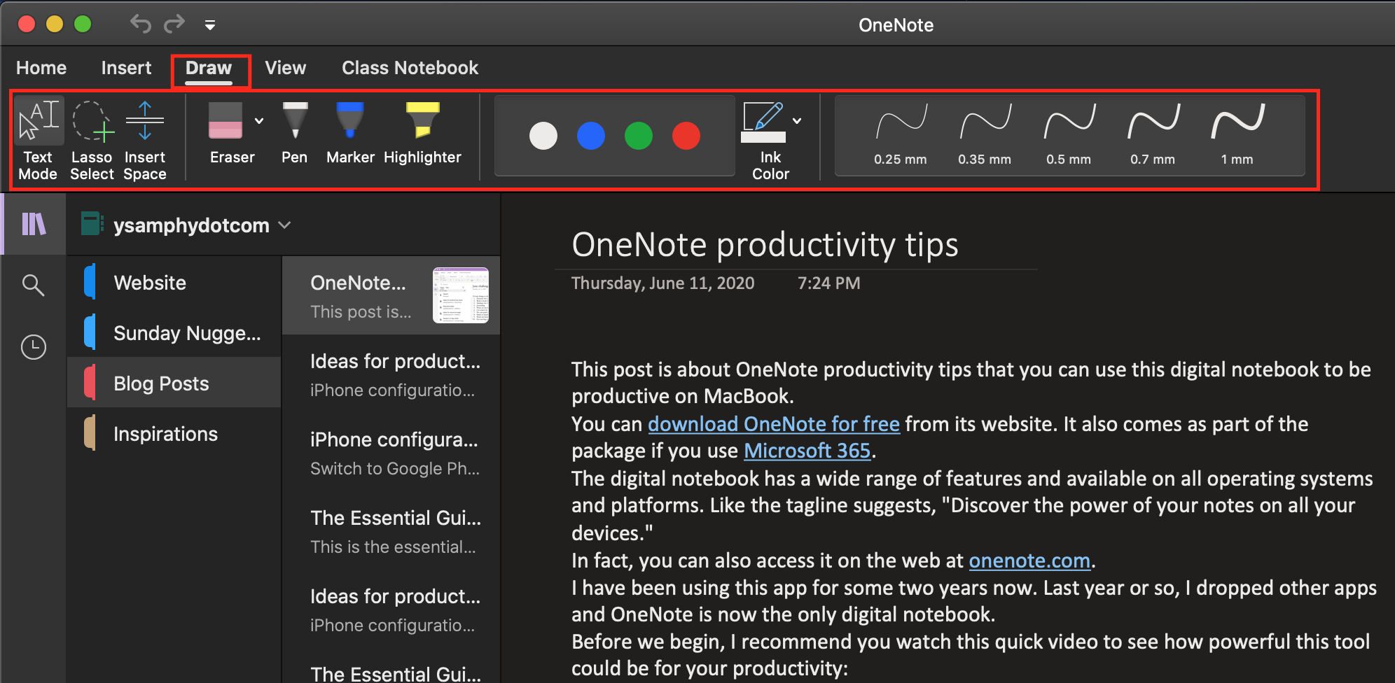 Drawing tools in OneNote