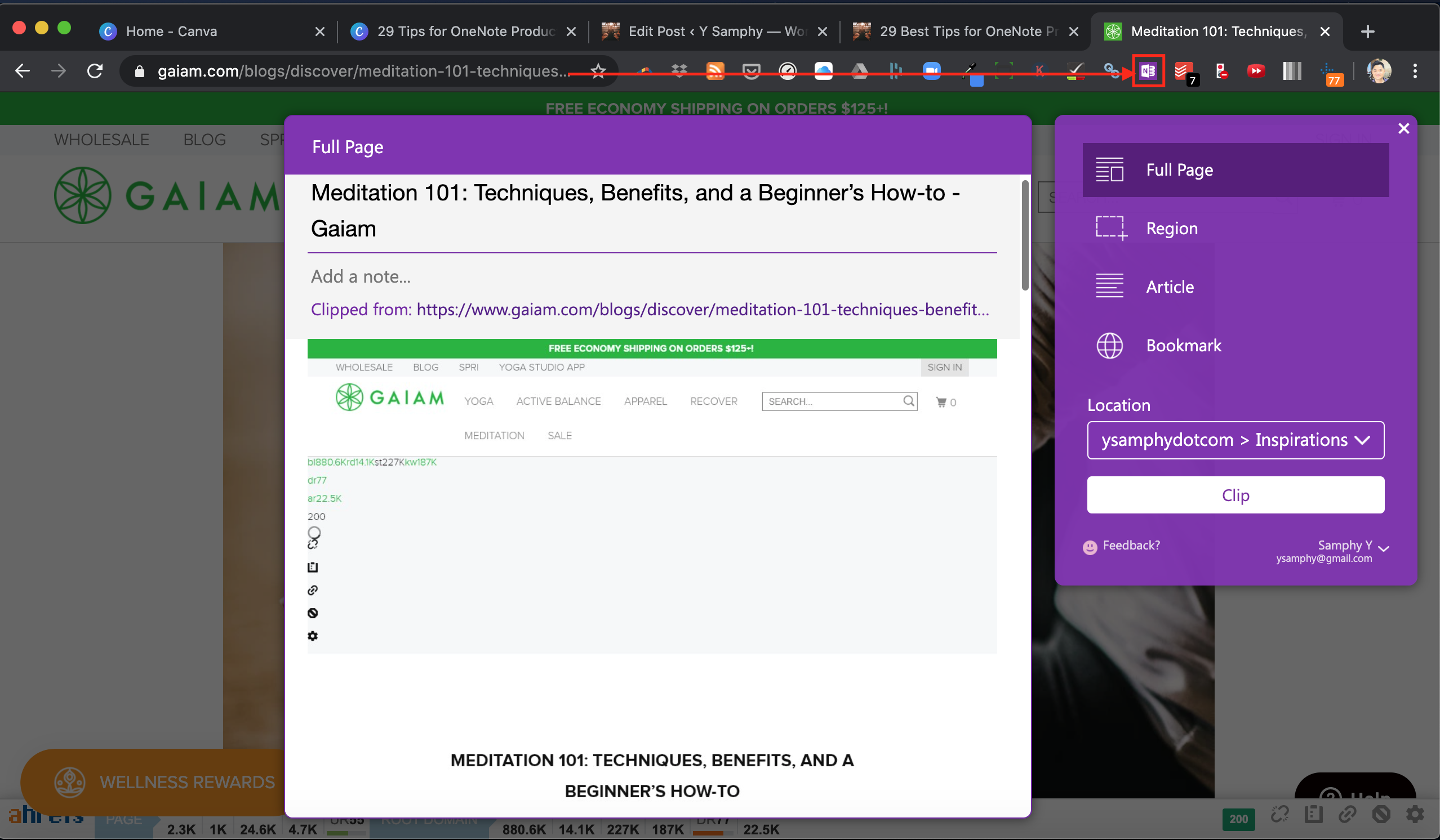 Clip anything on the internet with OneNote web clipper