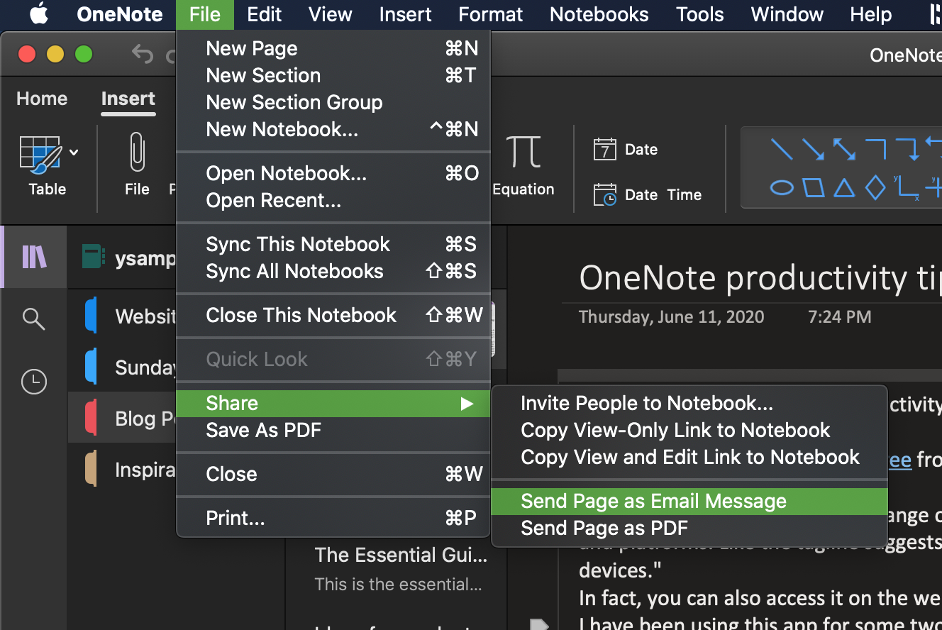 How to send page as email in OneNote